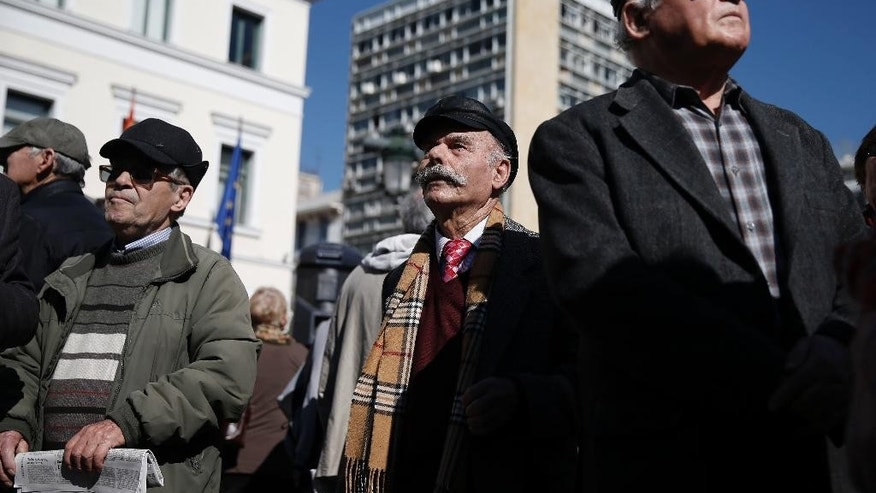 Hundreds of  pensioners take part in a anti-austerity protest, in central Athens, on Wednesday, April 1, 2015. Greece and its international creditors are still struggling to agree on a list of economic reforms that are deemed necessary for the country to unlock emergency funds and stay afloat. (AP Photo/Petros Giannakouris)