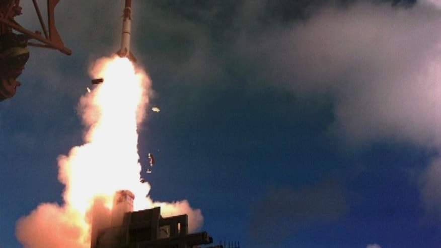 "This undated photo provided by the Israel Ministry of Defense shows a test launch of ""David's Sling"" missile system. Israeli officials said a joint U.S.-Israeli missile defense system has successfully passed a new test this and is expected to be operational next year. (AP Photo/Israel Ministry of Defense)"