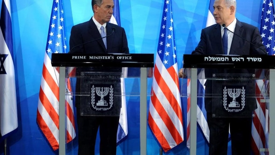 Speaker of the United States House of Representatives John Boehner, left, and Israel's Prime Minister Benjamin Netanyahu, right, make statements during a press conference at the prime minister's office in Jerusalem, Wednesday, April 1, 2015. (AP Photo/Debbie Hill, Pool)