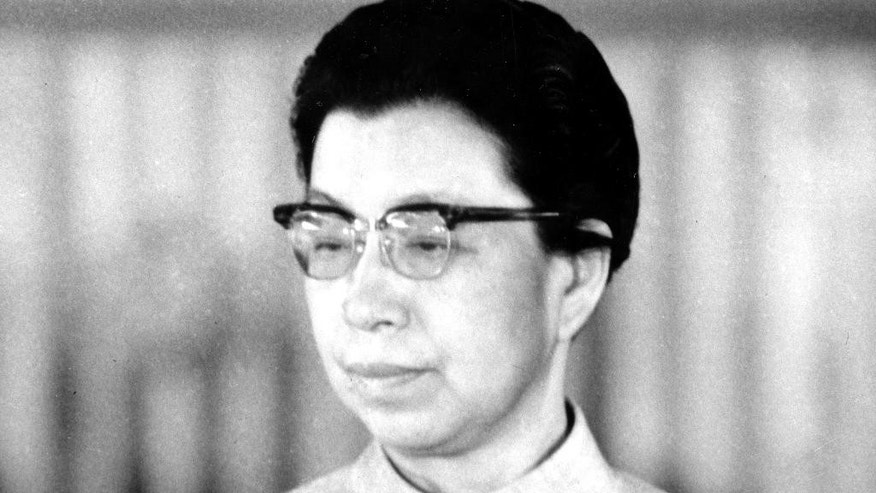 FILE - This 1972 file photo shows Jiang Qing, Mao Zedong's wife, in China. Leader of the radical Gang of Four that guided the Cultural Revolution, Jiang was arrested after attempting to seize power in the inner-party struggle that followed Mao's death in 1976. Jiang was accused of persecuting political enemies and causing the suffering of millions, but claimed at her 1980 trial that she had only been doing Mao's bidding. Sentenced to life in prison, she committed suicide while on medical release in 1991. (AP Photo/File)