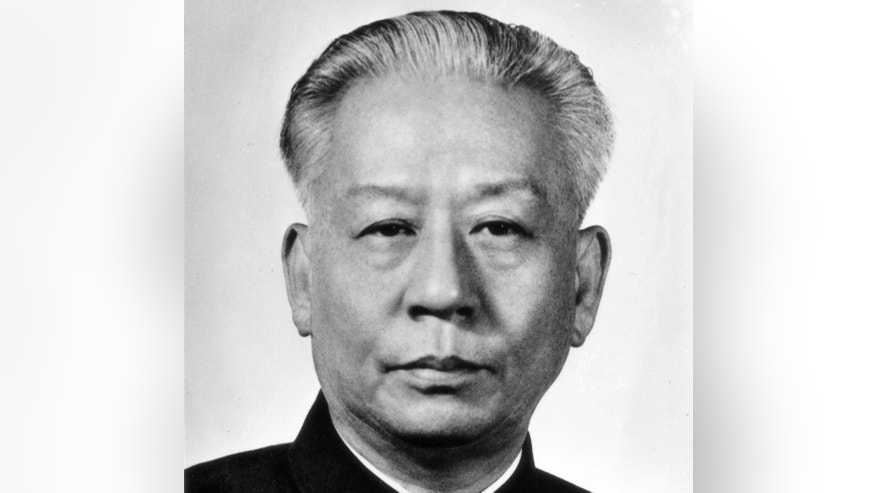 FILE - This Feb. 29, 1980 file photo shows Liu Shaoqi. Once considered the anointed successor to communist leader Mao Zedong, Liu was swept from power at the beginning of the Cultural Revolution. Formerly upheld as the model of a proper communist, Liu was vilified as a traitor and the party's chief enemy, leading to his death in detention in 1969 following years of physical mistreatment, medical neglect and constant interrogation. He was later formally vindicated. (AP Photo/File)