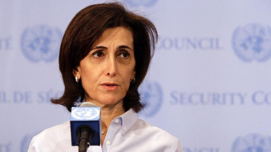 Jordanian Ambassador to the United Nations Dina Kawar speaks to reporters outside a Security Council consultation Saturday, April 4, 2015, at the United Nations headquarters. Saudi Arabia is ready to discuss Russia's proposition to introduce pauses in air strikes on Yemen for delivering humanitarian aid and evacuating civilians. (AP Photo/Mary Altaffer)