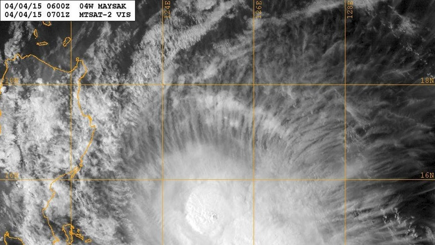 This image provided by the U.S. Navy Research Lab shows Typhoon Maysak taken Saurday morning April 4, 2015 at 06:00 a.m. GMT. Thousands of residents and tourists were told to leave the northeastern Philippines' coastline Saturday ahead of Typhoon Maysak, which is barreling from the Pacific after killing four people and destroying hundreds of homes in Micronesia. (AP Photo/U.S. Navy)
