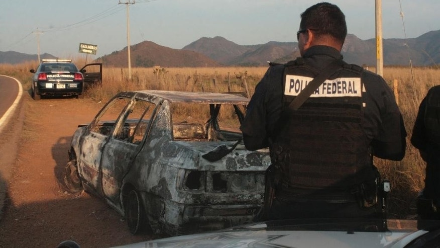 Federal police stand next to a bullet riddled and burned car after a criminal gang ambushed a police convoy near the town of Soyatlan, near Puerto Vallarta, Mexico, Monday, April 6, 2015. According to the Jalisco state prosecutors office, at least 15 state policed officers were killed and five others wounded, the single deadliest attack on Mexican police in recent memory. (AP Photo)