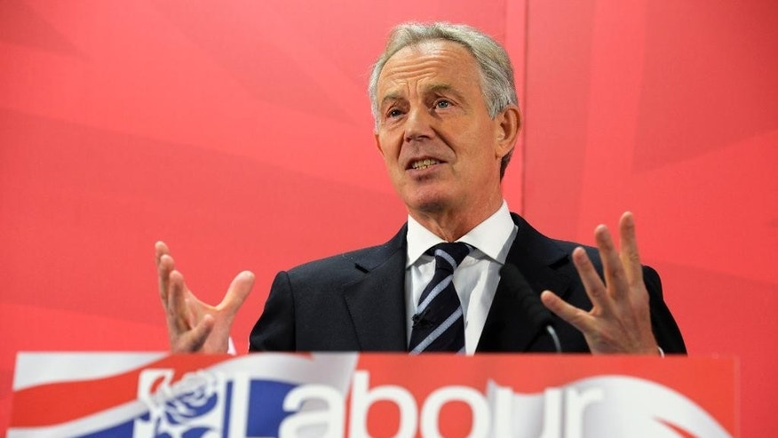 Former British Prime Minister Tony Blair speaks during a visit to the Hitachi factory in his former constituency in Newton Aycliffe, England, Tuesday April 7, 2015, warning of economic chaos should Prime Minister David Cameron's Conservative Party win the next General Election.  Blair won three elections under the Labour Party banner in the past, and now enters the campaign trail for Labour before Britain goes to the polls in a General Election on May 7. (AP Photo/Owen Humphreys, PA) UNITED KINGDOM OUT - NO SALES - NO ARCHIVE
