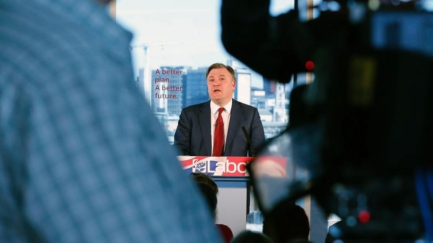 British Labour party Shadow chancellor Ed Balls makes a speech in Leeds to coincide with the new tax year while on the General Election campaign trail, Monday April 6, 2015.  According to polls, support for the Labour Party in Scotland may have collapsed, and may cripple Labour's hopes of regaining political power in upcoming General Election. (AP Photo / Lynne Cameron, PA) UNITED KINGDOM OUT - NO SALES - NO ARCHIVE