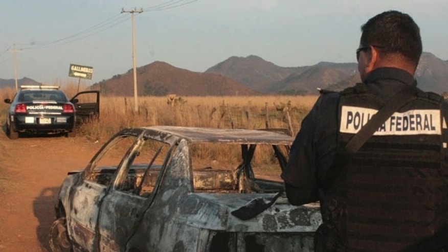 April 6, 2015: Federal police stand next to a bullet riddled and burned car after a criminal gang ambushed a police convoy near the town of Soyatlan, near Puerto Vallarta, Mexico. According to the Jalisco state prosecutors office, at least 15 state policed officers were killed and five others wounded, the single deadliest attack on Mexican police in recent memory.