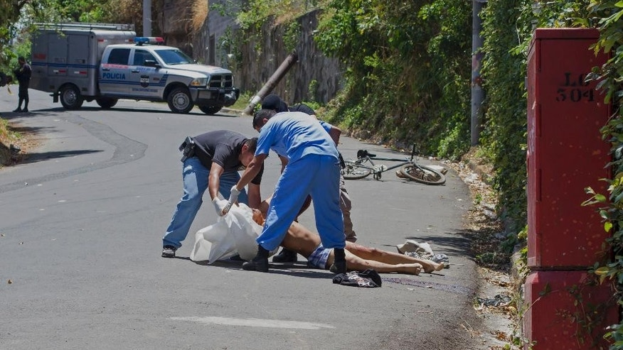 In this April 4, 2015 photo, forensic workers place the body of Luis Ernesto Aquino in a body bag after he was killed by unidentified gunmen in El Cobanal, El Salvador. This Central American country had more homicides in March than any other single month in a decade, a dark moment that some attribute to the collapse of a gang truce and one that could mark a trend of greater violence to come. (AP Photo/Salvador Melendez)