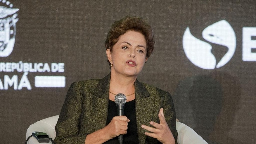 Brazilian President Dilma Vana Rousseff speaks during a CEO Summit of the Americas panel discussion, Friday, April 10, 2015, in Panama City, Panama. (AP Photo/Pablo Martinez Monsivais)