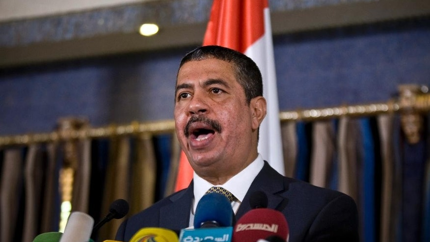 FILE - In this Nov. 9, 2014, file photo, newly-appointed Yemeni Prime Minister Khaled Bahah speaks during a news conference in Sanaa, Yemen. Yemen's President Abed Rabbo Mansour Hadi, who fled the country in the face of a rebel advance last month, has tapped his former Prime Minister Khaled Bahah to be vice president in a move aimed at strengthening the embattled executive branch, an official close to Hadi said. (AP Photo/Hani Mohammed, File)