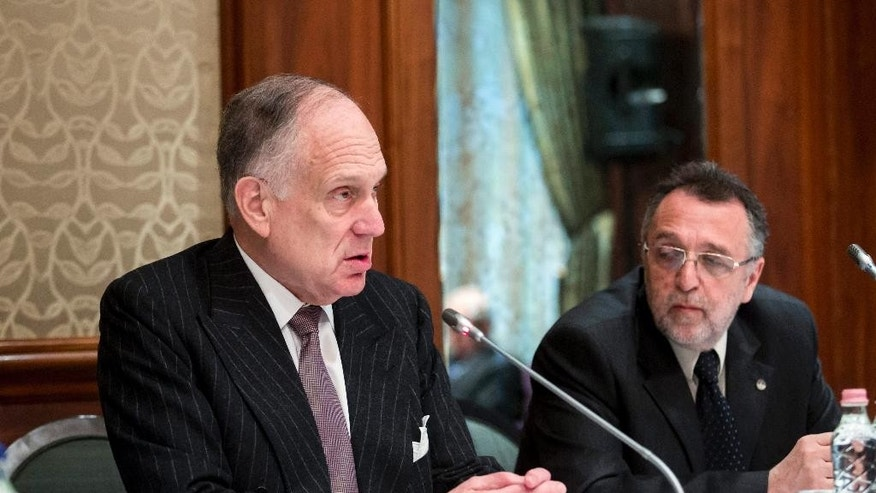 President of the World Jewish Congress Ronald S. Lauder, left, speaks as President of the Federation of Jewish Religious Communities of Hungary and Vice President of WJC Andras Heisler, right, looks on during a press conference held by the Federation of Jewish Religious Communities of Hungary (Mazsihisz) and the organizers of the March of the Living in Hotel Four Seasons in Budapest, Hungary, Sunday, April 12, 2015. (AP Photo/MTI, Balazs Mohai)