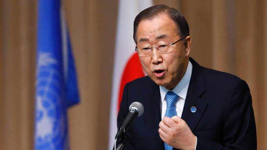 FILE- In this March 16, 2015, file photo, U.N. Secretary General Ban Ki-moon delivers a speech during a symposium of the 70th anniversary of the United Nations at the UN University in Tokyo. Ki-moon said in a report released Monday, April 13, 2015, that 2014 was marked by harrowing accounts of rape, sexual slavery and forced marriage being used by extremists including the Islamic State group and Boko Haram. (AP Photo/Shizuo Kambayashi, File)