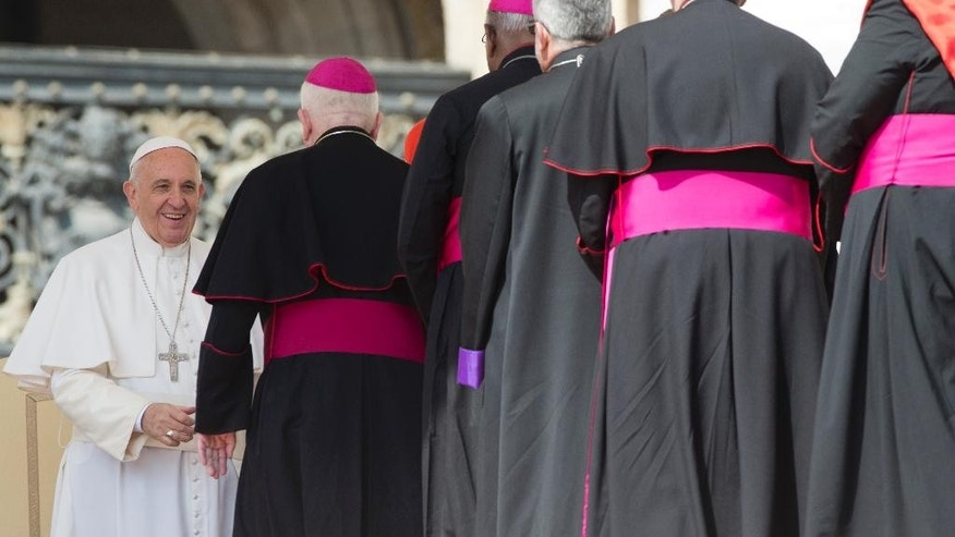 Pope Francis, left, greets cardinals and bishops at the end of his weekly general audience, in St. Peter's Square, at the Vatican, Wednesday, April 15, 2015. (AP Photo/Andrew Medichini)