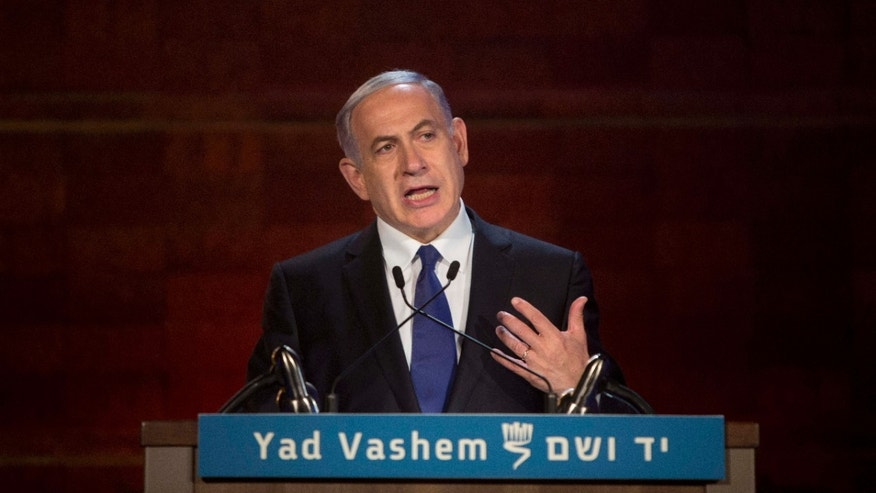 April 15, 2015: Israeli Prime Minister Benjamin Netanyahu speaks at the opening ceremony of the Holocaust Remembrance Day at the Yad Vashem Holocaust Memorial in Jerusalem.