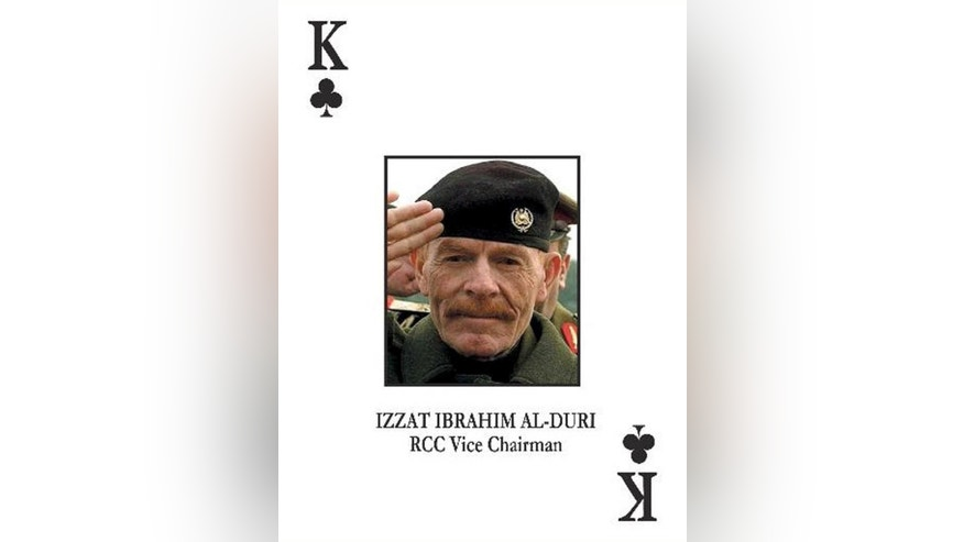 FILE - In this photo provided by the U.S. Army on Saturday, Oct. 21, 2006, the most wanted Iraqi fugitive, former Saddam Hussein deputy Izzat Ibrahim al-Douri , is pictured on the deck of cards put out by the U.S. military to help capture most wanted officials of Saddam Hussein's regime. Salahuddin province Gov. Raed al-Jabouri says soldiers and allied Shiite militiamen killed al-Douri early Friday, April 17, 2015 in an operation east of the city of Tikrit. A graphic photo issued by the government purports to be of al-Douri's corpse, but DNA tests are still pending. (U.S. Army via AP)