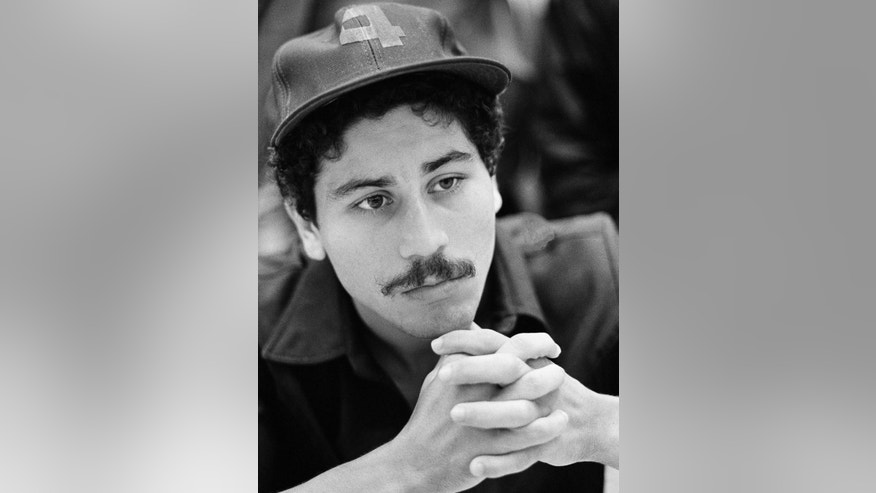 FILE - This November 1982 file photo shows former three-time boxing champion Wilfredo Gomez in New Orleans. Police said in a statement Saturday, April 18, 2015, that the 58-year-old boxer was detained for investigation of domestic violence. No charges have been filed. (AP Photo, File)