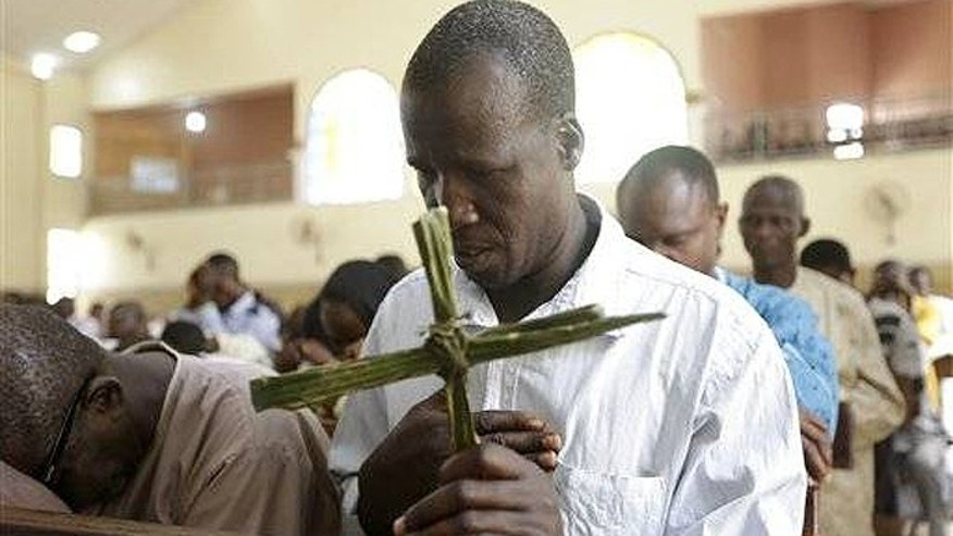 Nigerian Christians attend the Palm Sunday mass, at St Theresa's Catholic Church, in Yola, Nigeria, last month. (AP)