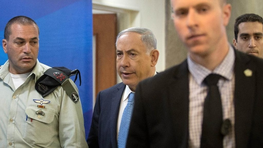 April 19, 2015: Israeli Prime Minister Benjamin Netanyahu arrives for the weekly cabinet meeting at his Jerusalem office.
