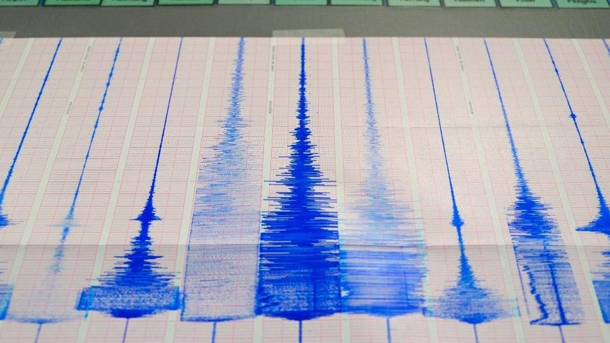 The Taiwan Central Weather Bureau's seismic chart shows the moment of the 6.3 magnitude earthquake that struck off the island's eastern coast in Taipei, Taiwan, Monday, April 20, 2015. The Taiwan Power Company confirmed Monday that a transformer fire was started by the morning earthquake, resulted in one dead and one injured. (AP Photo/Wally Santana)