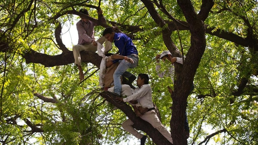 Volunteers of the Aam Admi Party try to rescue Gajendra Singh, who hanged himself during a farmer's rally in New Delhi, India, Wednesday, April 22, 2015. According to a note he left behind and which police recovered, Singh killed himself after his father, left with nothing after rainstorms destroyed their crops, forced him from the family home. It was the latest in a wave of suicides that has left at least 40 farmers dead in recent weeks. (AP Photo/Saurabh Das)