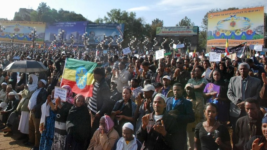 April 22, 2015: Thousands of people attend a government-supported gathering to protest the recent killing of many Ethiopian Christians in Libya by the Islamic State extremist group, at Meskel Square in Addis Ababa, Ethiopia.