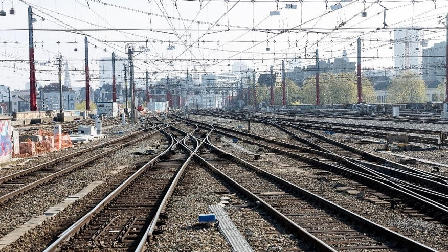 Empty train tracks at Brussels Midi Station during a train strike on Wednesday, April 22, 2015. Both Eurostar and Thalys international trains were affected by the strike as well as local Belgian train service. (AP Photo/Thierry Monasse)
