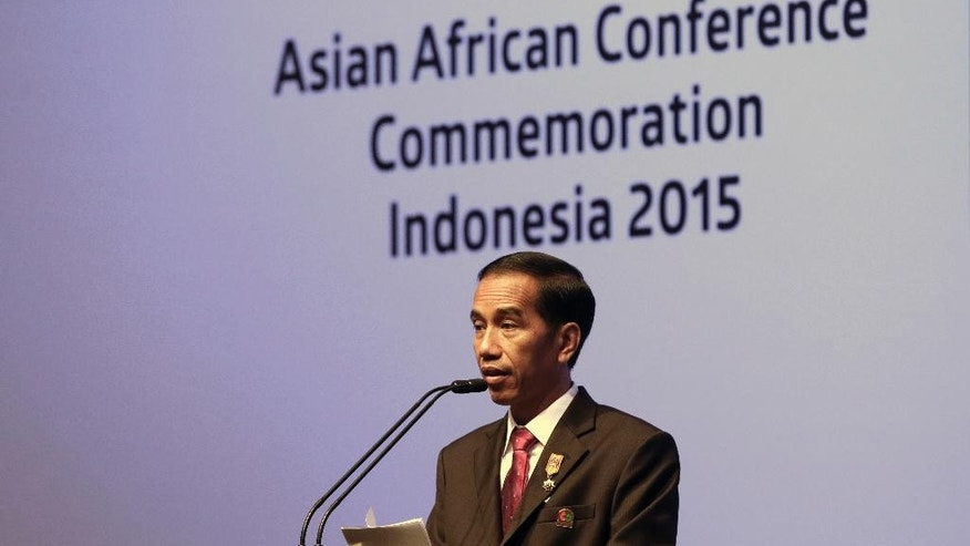 Indonesian President Joko Widodo delivers his closing statement at the Asian African Summit in Jakarta, Indonesia Thursday, April 23, 2015. (AP Photo/Dita Alangkara)