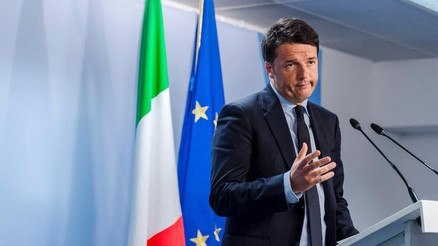 Italian Prime Minister Matteo Renzi speaks during a media conference after an emergency EU summit at the EU Council building in Brussels on Thursday, April 23, 2015. EU leaders on Thursday committed extra ships, planes and helicopters to save lives in the Mediterranean at an emergency summit convened after hundreds of migrants drowned in the space of a few days. (AP Photo/Geert Vanden Wijngaert)