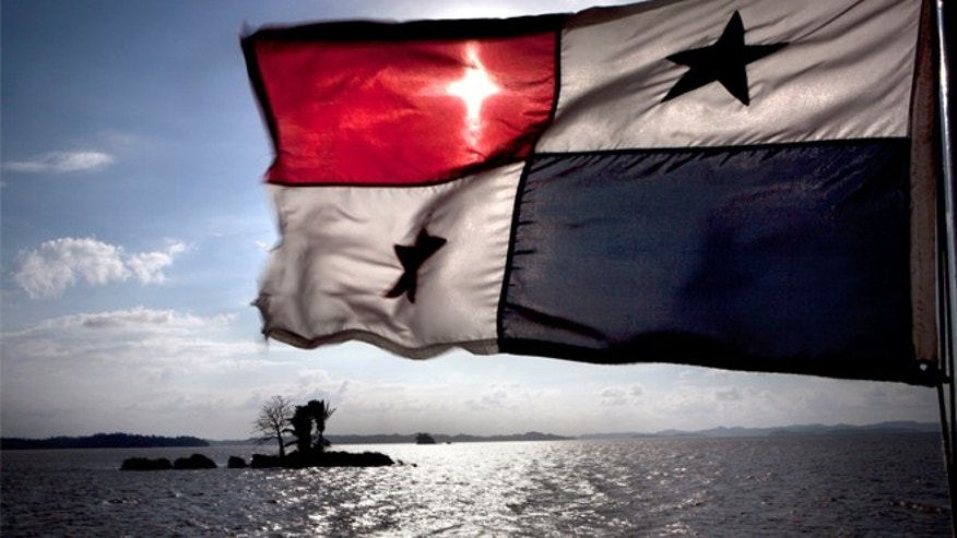 Caption:A flag flying from a ship on the Panama Canal, 5th January 2012. (Photo by Francis Tsang/Cover/Getty Images)