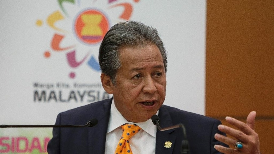 Malaysian Foreign Minister Anifah Aman speaks during a press conference ahead of the 26th ASEAN Summit at the Kuala Lumpur Convention Center in Kuala Lumpur, Malaysia, Friday, April 24, 2015. The two-day summit meetings start on April 27. (AP Photo/Joshua Paul)