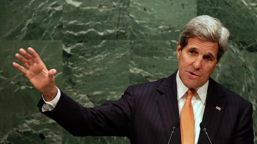 U.S. Secretary of State John Kerry addresses the 2015 Nuclear Nonproliferation Treaty (NPT) review conference, in the United Nations General Assembly, Monday, April 27, 2015. (AP Photo/Richard Drew)