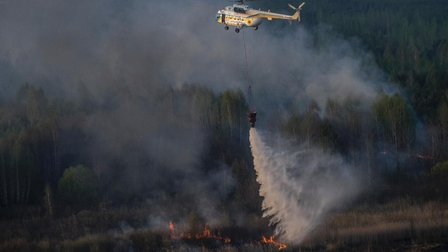 A firework helicopter extinguishes a forest fire in the Chernobyl area, Ukraine, Tuesday, April 28, 2015. Fire engulfed a large sector of woods in the exclusion zone around the destroyed Chernobyl nuclear power plant Tuesday. Ukrainian Prime Minister Arseniy Yatsenyuk said the fire was the worst in the area for more than two decades, but that the blaze was under control. (AP Photo/Andrew Kravchenko, Pool)