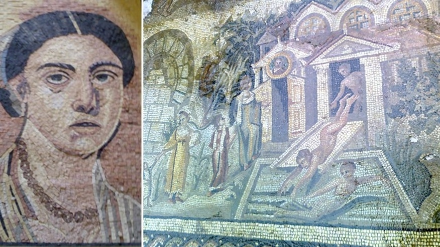 These mosaics were stolen in Syria in 2011, according to INTERPOL.
