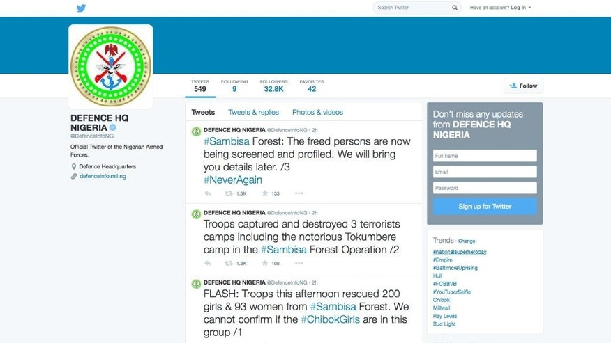 This screen shot of the official Twitter feed of the Nigerian Armed Forces shows tweets announcing the rescue of 200 girls and 93 women from the Sambisa Forest in Nigeria and the destruction of three terrorist camps during the operation, Tuesday, April 28, 2015. An Army spokesman says the rescued females are not those kidnapped from Chibok by the Islamic extremist group Boko Haram in northeastern Nigeria in April 2014. (AP Photo)