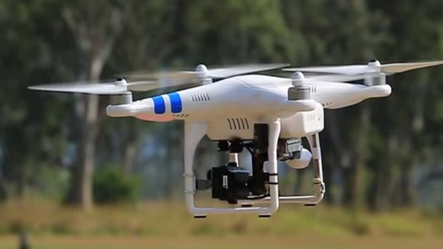 A screenshot of the remote-controlled DJI Phantom 2 Quadcopter in flight.