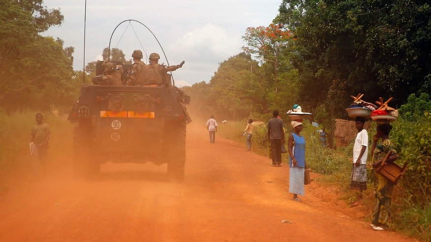 April 11, 2014: Image shows French forces patrolling in Sibut, some 140 miles northeast of Bangui, Central African Republic.