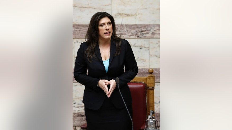 In this picture made on Friday, Feb. 6, 2015, Parliament speaker Zoi Constantopoulou, gives her first speech during a parliament session in Athens.  Constantopoulou has welcomed a statement by German President Joachim Gauck, published Saturday May, 2, 2015, in German newspaper Suddeutsche Zeitung, where Gauck calls for his country to consider World War II reparations to Greece. (AP Photo/Petros Giannakouris)