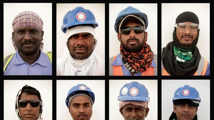 In this combination of eight photos taken on a government-organized media tour Sunday, May 3, 2015, laborers pose for a portrait at a workers' accommodation camp, in Doha, Qatar. Qatar's top labor official told The Associated Press Monday, May 4, 2015, that delays in ensuring decent housing for a bulging migrant labor population were a mistake the government is fixing as it gears up to host the 2022 World Cup, and he is hopeful a new wage protection program will address complaints about payments. (AP Photo/Maya Alleruzzo)