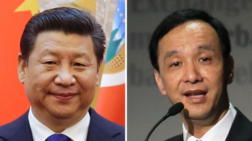 FILE - This combination of file photo shows Chinese President Xi Jinping, left, in Beijing Jan. 6, 2015 and Taiwan's ruling Nationalist Party Chairman Eric Chu in Hong Kong March 9, 2015. Chu, also New Taipei mayor, reaffirmed the party's support for eventual unification with the mainland when he met Monday, May 4  with Xi as part of continuing rapprochement between the former bitter enemies. Chu, a likely presidential candidate next year, also affirmed Taiwan's desire to join the proposed Chinese-led Asian Infrastructure Investment Bank during the meeting in Beijing. (AP Photo/Andy Wong, Vincent Yu, File)