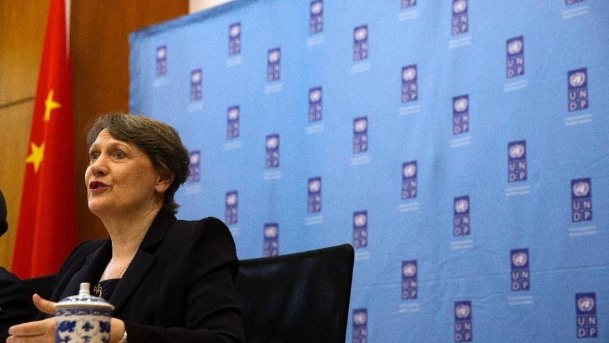 UNDP administrator Helen Clark speaks at a press conference in Beijing, Monday, May 4, 2015.  Clark, the leader of the United Nations Development Program, praised China's relief efforts in Nepal and said the country's importance to global development will only grow.(AP Photo/Ng Han Guan)