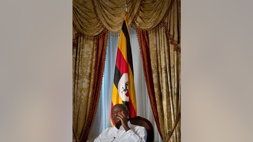 Republic of Uganda President Yoweri Museveni speaks during an interview, Tuesday, May 5, 2015, at the Waldorf Astoria in New York. Back in Uganda, it's believed that Museveni will run for yet another term in 2016, and he will win. (AP Photo/Bebeto Matthews)