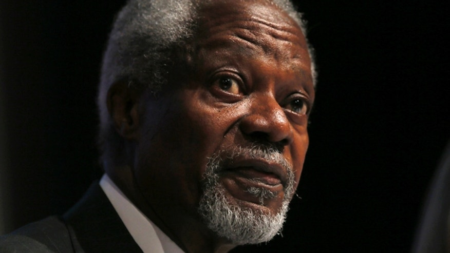 May 8, 2014: Chair of the Africa Progress Panel, Kofi Annan, attends a media launch of the Africa Progress Report 2014 in London.