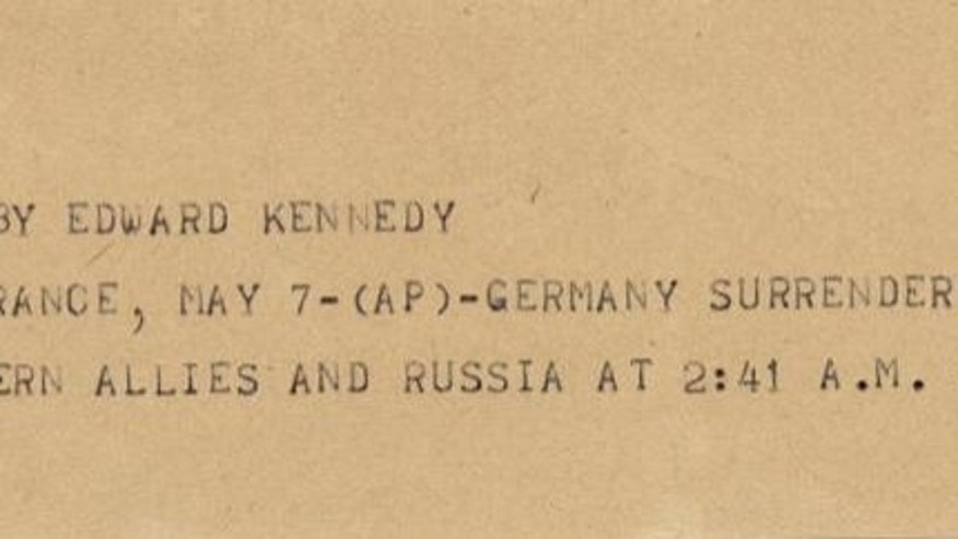 This undated photograph shows the news bulletin sent by Associated Press Paris Bureau Chief Edward Kennedy announcing the unconditional surrender of the Germans to the Allies on May 7, 1945. (AP Photo)