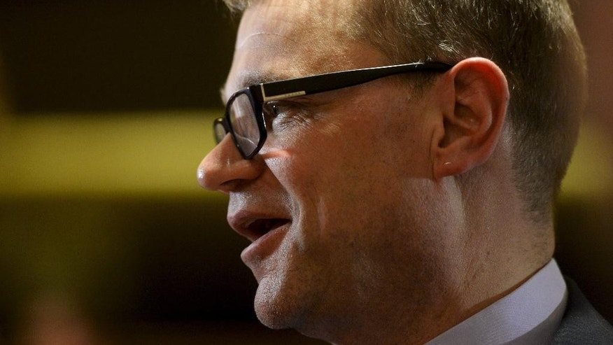 The leader of the government negotiations, next Finnish Prime Minister and the Chairman of the Center Party, Juha Sipila speaks during government negotiations at the parliament in Helsinki, Thursday, May 7, 2015. (Antti Aimo-Koivisto/Lehtikuva via AP) FINLAND OUT