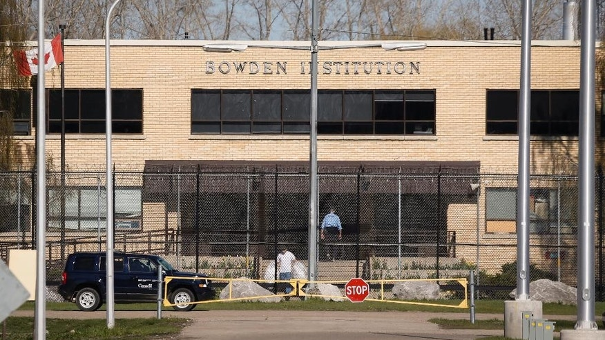The Bowden Institution near Calgary, Alta., is shown Thursday, May 7, 2015, where former Guantanamo Bay prisoner Omar Khadr is being held while he appeals his war-crimes conviction in the U.S. Omar Khadr, convicted of killing a U.S. soldier, will be released on bail Thursday, May 7, 2015, after Court of Appeal Jutice Myra Bielby refused a last-ditch attempt by the Canadian government to keep him jailed. (Jeff McIntosh/The Canadian Press via AP)