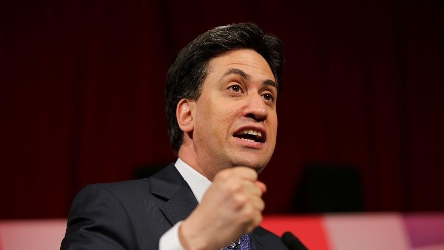 Labour Party leader Ed Miliband makes a speech to party activists during a General Election campaign stop at the Muni Theatre in Colne, north west England, Wednesday  May 6, 2015. Britain holds a General Election on Thursday. (Chris Radburn/PA via AP)  UNITED KINGDOM OUT  NO SALES  NO ARCHIVE
