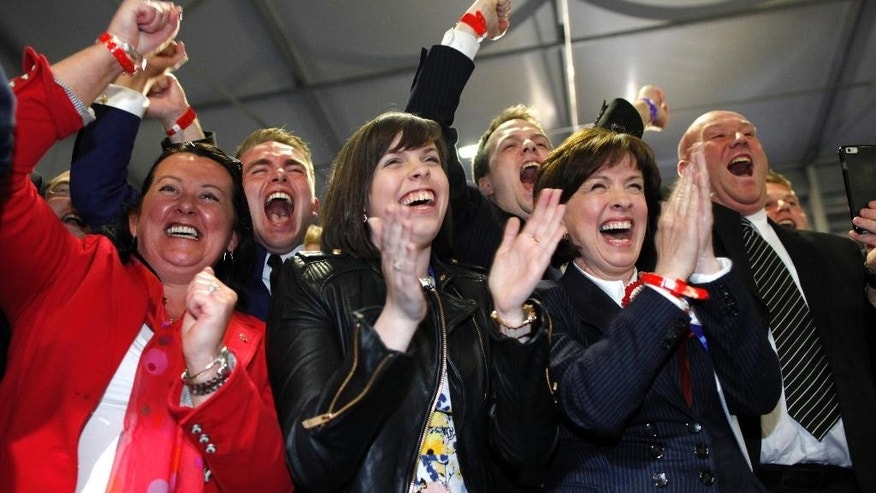 Democratic Unionist Party supporters celebrate after their North Belfast candidate Nigel Dodds is elected MP for North Belfast at the Kings Hall count center in Belfast, Northern Ireland, Friday, May 8, 2015. The Conservative Party fared much better than expected in British parliamentary elections Thursday, an exit poll projected, suggesting that Prime Minister David Cameron is within touching distance of forming a new government. Cameron could also seek support from the right-of-center Democratic Unionists in Northern Ireland, who had eight seats before the election, or the anti-European, anti-immigration U.K. Independence Party.  (AP Photo/Peter Morrison)