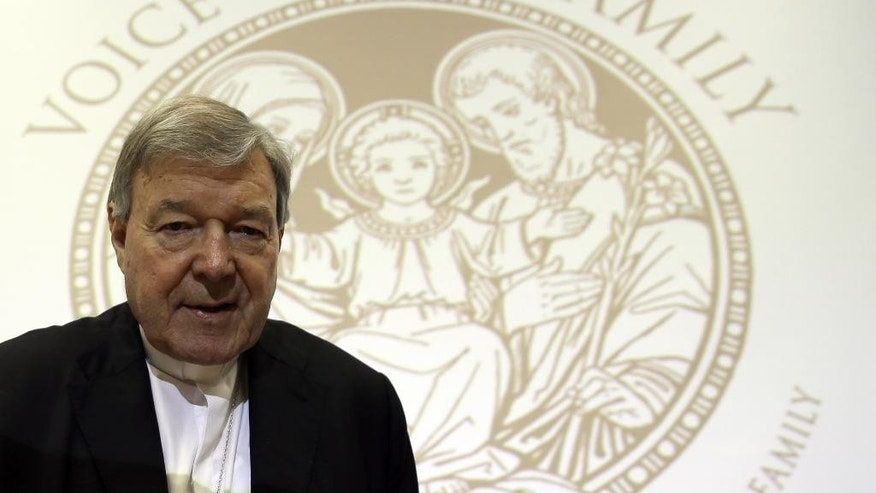Cardinal George Pell attends ' The Voice of the Family meeting ', in Rome, Saturday, May 9, 2015. (AP Photo/Gregorio Borgia)