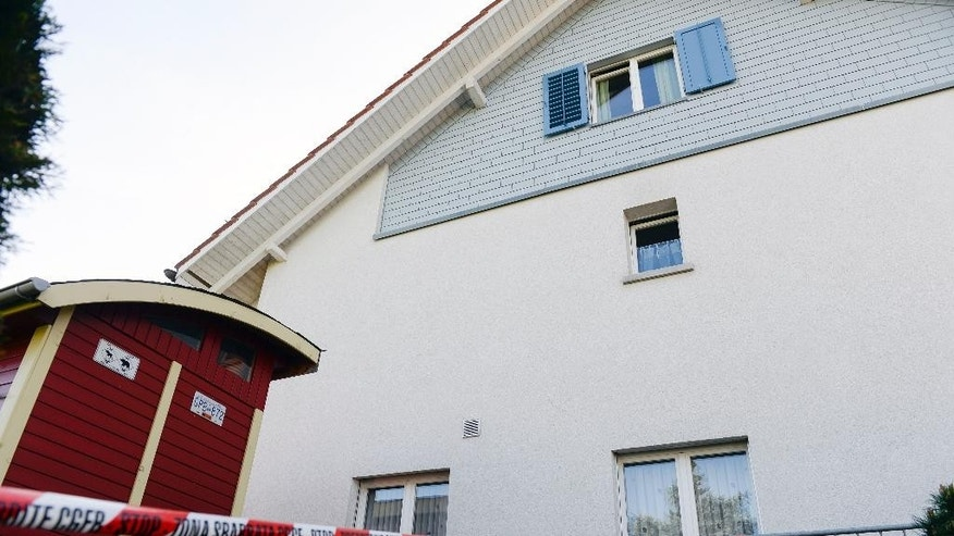 May 10, 2015: Police has blocked the way to a house in Wuerenlingen, Switzerland.