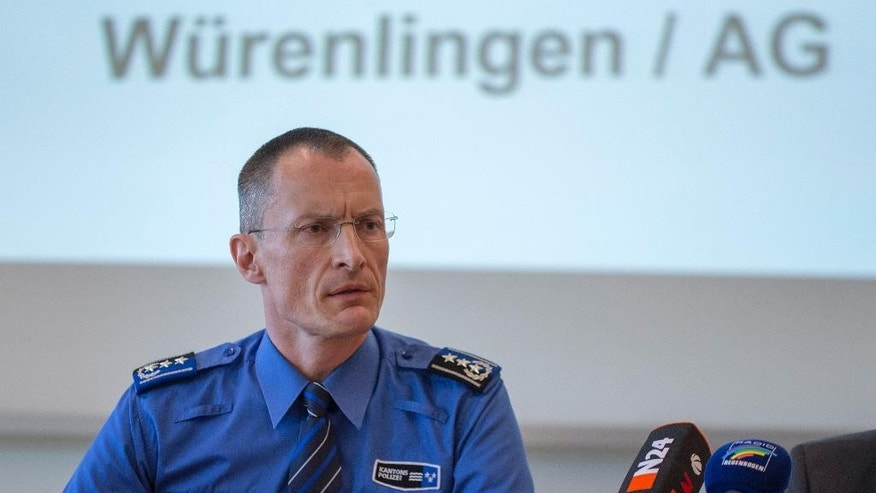 May 10, 2015: Aargau canton (state) police chief Michael Leupold speaks at a news conference after the shooting in Wuerenlingen that left five people dead in Aarau, Switzerland.